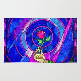 Beauty And The Beast Red Rose Flower Rug