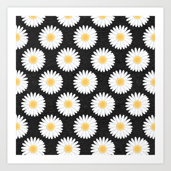 Spring Daisies_Black Art Print