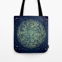 zodiac Tote Bags featuring Zodiac Star Map by From Flora With Love