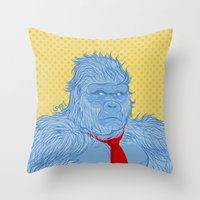 donkey kong Throw Pillows featuring Donkey Kong by Ismael Álvarez