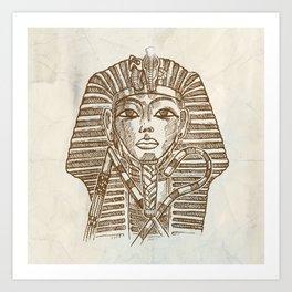 Golden mask of Egyptian pharaoh Art Print