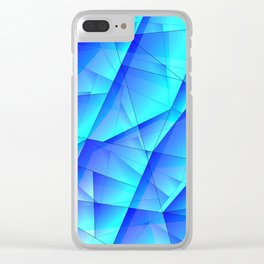 Abstract celestial pattern of blue and luminous plates of triangles and irregularly shaped lines. Clear iPhone Case