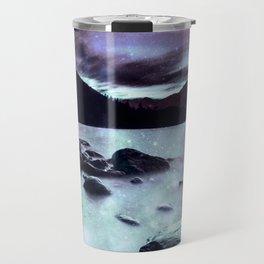 Magical Mountain Lake Dark Lavender Teal Travel Mug