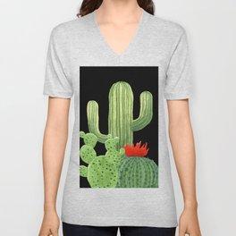 Perfect Cactus Bunch on Black Unisex V-Neck
