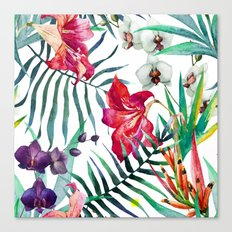 Tropical Watercolor Floral Canvas Print