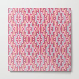 Tribal Diamond Pattern in Peach, Dark Pink and Gray Metal Print