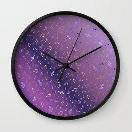 shiny music notes dark purple Wall Clock
