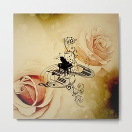 Music, piano with clef Metal Print