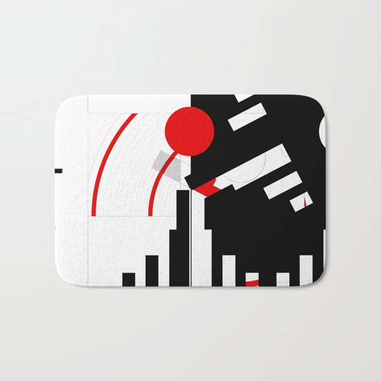 black and white meets red Version 16 Bath Mat