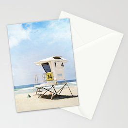 California Beach Photography, Lifeguard Stand San Diego, Blue Coastal Photograph Stationery Cards