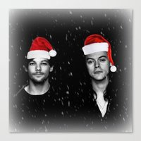 larry stylinson Canvas Prints featuring Larry Stylinson Christmas B&W by girllarriealmighty