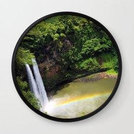 Waterfall and Rainbow in Hawaii Wall Clock