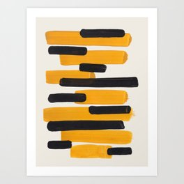 Mid Century Modern Abstract Painting Antique Yellow Black Bumble Bee Stripes Art Print
