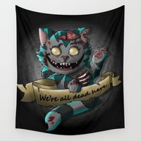 gore Wall Tapestries featuring Chesire cat gore by trevacristina