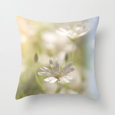 White tender Spring Flowers and blossoms on #Society6 Throw Pillow