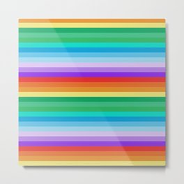 Multi-coloured Horizontal Stripes 900 Metal Print