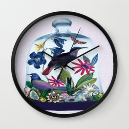 Blue Bird Bell Jar Wall Clock