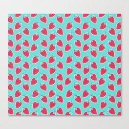 Pink & Blue Strawberries Canvas Print
