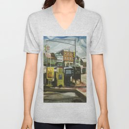 Newspaper Depot on America's Cup Avenue, afternoon sun, Fall 1997 Unisex V-Neck