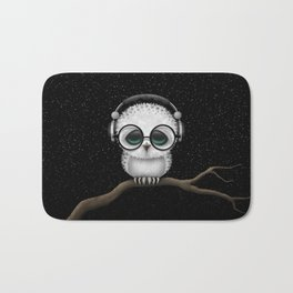Cute Baby Owl Dj with Headphones and Glasses Bath Mat