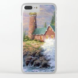 Lighthouse And Foaming Waves Smashing Against Cliff Ultra HD Clear iPhone Case