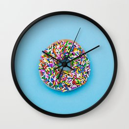 Hyperreal Sprinkled Donut on Blue Wall Clock