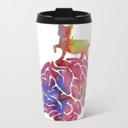 Cat and brain Travel Mug