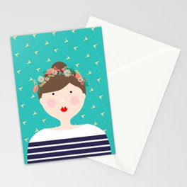 Girl in Flower Crown Stationery Cards