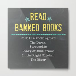 Read Banned Books with Book List Metal Print