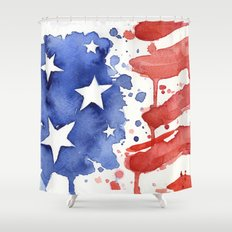 American Flag Watercolor Abstract Stars and Stripes Shower Curtain