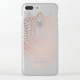 Botanical Lotus - Rose Gold Clear iPhone Case