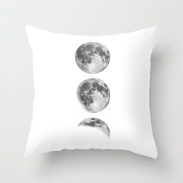 Full Moon cycle black-white photography print new lunar eclipse poster bedroom home wall decor Throw Pillow