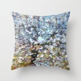 Spring Almond Blossom Throw Pillow