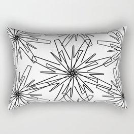 Modern abstract black  white geometric floral Rectangular Pillow