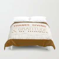 thanksgiving Duvet Covers featuring ThanksGiving by joannaciolek