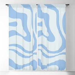 Soft Liquid Swirl Abstract Pattern Square in Powder Blue Blackout Curtain