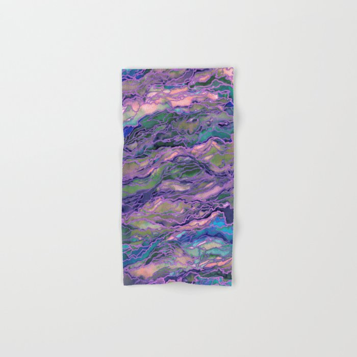 MARBLE IDEA! LAVENDER PINK PEACH Abstract Watercolor Painting Colorful Geological Nature Marbled Art Hand & Bath Towel