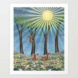 sunshine squirrels Art Print