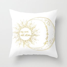 Moon of My Life. My Sun and Stars Gold Throw Pillow