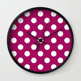 Jazzberry jam - violet - White Polka Dots - Pois Pattern Wall Clock