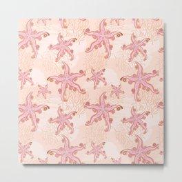 Starfish and Coral Pink Pastel Pattern Metal Print