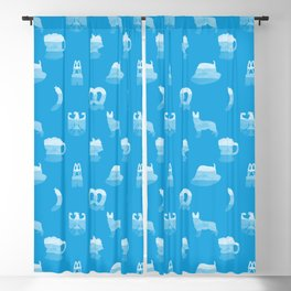Oktoberfest Bavarian October Beer Festival Motifs in Bavarian Blue Blackout Curtain