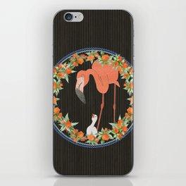 Flamingo wreath iPhone Skin