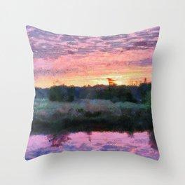 Monet Inspired Sunrise Throw Pillow