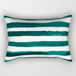 Watercolor Stripes (Emerald Green) Rectangular Pillow