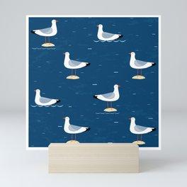 Seagulls blue Mini Art Print