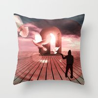 surrealism Throw Pillows featuring surrealism  by mark ashkenazi