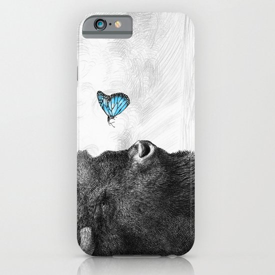 Bison and Butterfly (square format) iPhone & iPod Case