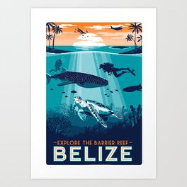 Belize Travel poster vintage tropical reef Art Print