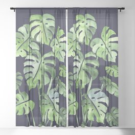 Delicate Monstera Blue #society6 Sheer Curtain
